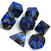 Black & Blue Gemini Polyhedral 7 Dice Set